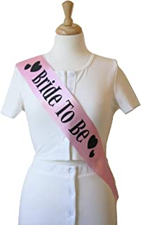 Elegant Bride To Be Sash, Pink Satin and Black Hearts - Perfect Gift for Bridal Showers, Bachelorette Party, Engagement - Wedding Party Favors, Supplies and Decorations