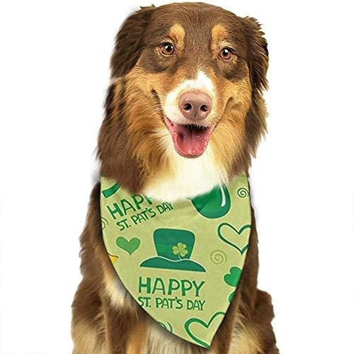 YAGEAD Pañuelo para Perros Cachorro y pañuelos para Mascotas, Día de San Patricio Feliz Día de San Patricio Vaso de Cerveza Flor Caja de Regalo Corazón Hoja Sombrero C Bufanda para Mascotas