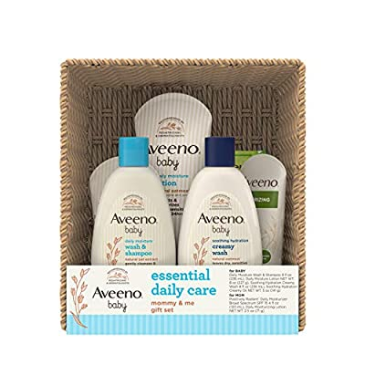 Aveeno Baby Essential Daily Care Baby & Mommy Gift Set featuring a Variety of Skin Care and Bath Products to Nourish Baby and Pamper Mom, Baby Gift for New and Expecting Moms, 7 items from Aveeno Baby