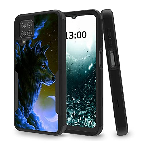 Case for Samsung A12 5G, 3 in 1 Heavy Duty Hybrid Black Back Silicone Shockproof Drop Full Body Protection Dual Layer Rugged Cell Phone Basic Case for Samsung Galaxy A12 5G, Wolf Galaxy