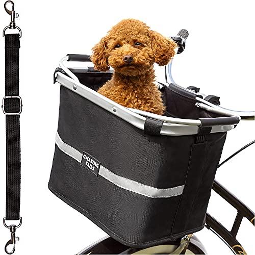 Chasing Tails Dog Bike Basket - Dog Basket for Bike with Reflective Safety Stickers, Foldable, Easy to Install Dog Bike Carrier - Adjustable Leash Included