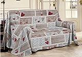 Smartsupershop Tagesdecke für Frühling & Sommer, für Doppelbett, 250 x 290 cm, mit roten Herzen, aus Jacquard-Baumwolle, hergestellt in Italien