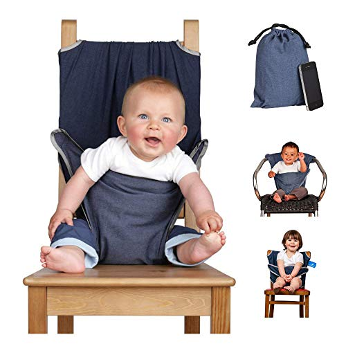 The totseat portable travel high chair (100% cotton denim blue) | Convenient, quick and easy,fitting all dining chairs (6-30 months) | Material chair harness so compact it will fit in your bag | Machine washable