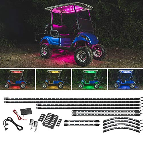 LEDGlow 12pc Million Color LED Golf Cart Underglow Accent Neon Lighting Kit with Canopy, Wheel Well...