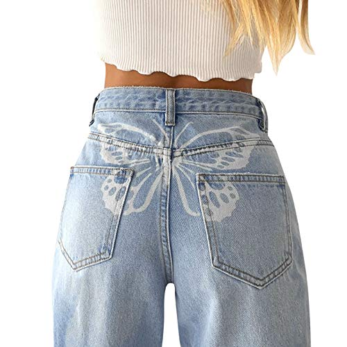 Briskorry Damen Baggy Jeans Y2K Style Jeanshose mit Hoher Taille, Gerade Jeanshose mit Weitem Bein, Mode Loose Flare Bleistift-Jeanshose Schlagjeans, Freizeithose Boyfriend Jeans (Blau4, M)