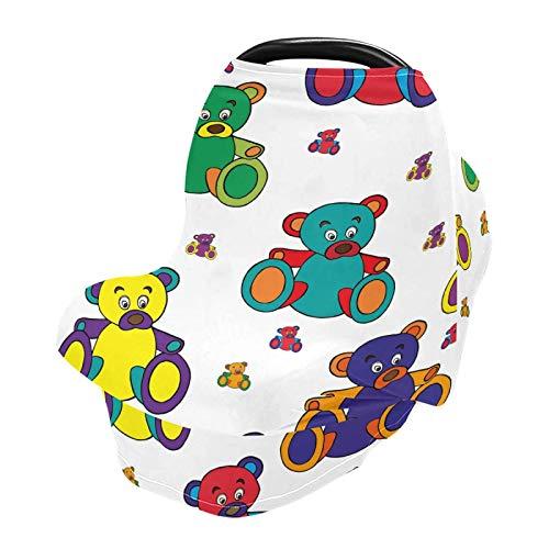 Mnsruu Cubierta de enfermería para lactancia materna, funda de asiento de coche de bebé de oso de juguete, cubierta de silla alta para carrito de compras