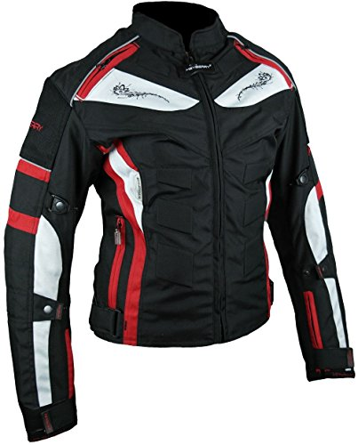 Heyberry Damen Motorrad Jacke Motorradjacke Textil Schwarz Rot Gr. L / 40 - 2