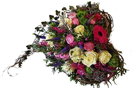 Grabgesteck in Herz Form -Wir vergessen Dich nicht- Blumengesteck zur Beerdigung, Trauergesteck Versand mit Wasserversorgung