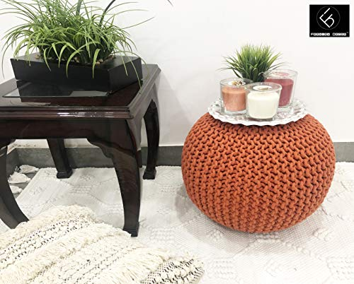 Frenish Décor Hand Knitted Cotton Ottoman Pouf Footrest 20x20x14 INCH, Living Room Accent seat (Pumpkin Orange)