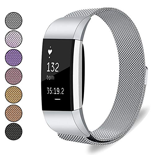 Mosonoi Compatiable with Fitbit Charge 2 Bands, Adjustable Metal Straps Replacement Bands Charge 2 Accessories Fit for Fitbit Charge 2 Smartwatch Women Men(Small, Silver)