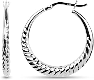 LeCalla Sterling Silver Jewelry Deal High Polish Classic Hoop Earrings for Women