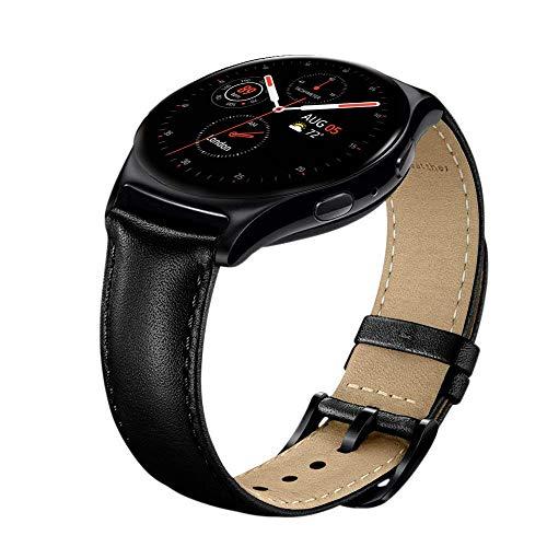 Sundaree Compatible con Galaxy Watch Active2/Galaxy Watch 42MM Correa,20MM Genuina Reemplazo Correa Pulsera Repuesto de Reloj para Samsung Galaxy Watch Active2 40 44/Galaxy Watch 42mm(S2,Negro Cuero)