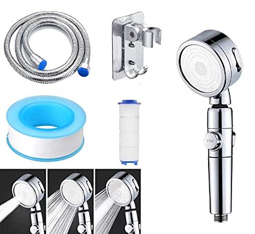 Duschkopf, Wassersparend Hochdruck, mit 1.5M Schlauch und Halterung, Teflonband, PP-Baumwolle, 3 Strahlarten, chromoptik
