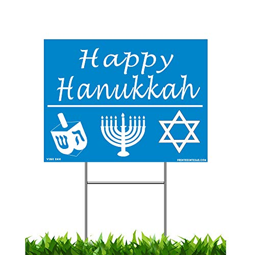 VIBE INK Happy Hanukkah Yard Sign, 24x18, Double-Sided, Large, Corrugated Plastic, Waterproof, Metal Stand Included - Made in The USA!