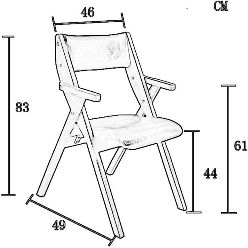 HURONG168 Chaises de cuisine Chaise pliante en bois massif pour la maison, chaise de conférence, dossier et chaise amovible et lavable siège lounge (Couleur : A) D