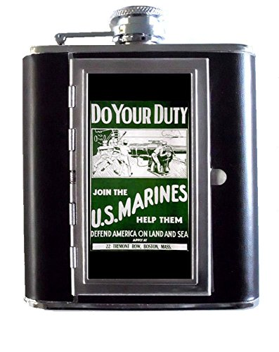 World War I U.S. Marines Corp 5oz Stainless Steel & Leather Hip Flask with Built-In Cigarette Case