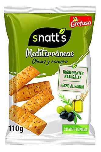Grefusa - Snatt's | Snacks Mediterráneos - Palitos de Pan con olivas y romero - 110 gr - 5 Paquetes (550 gr)