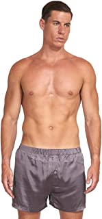 Men's 20 Momme Luxury Pure Silk Boxer Lounge Shorts, Lightweight and Breathable for Summer, Gift Ready, Grey Color