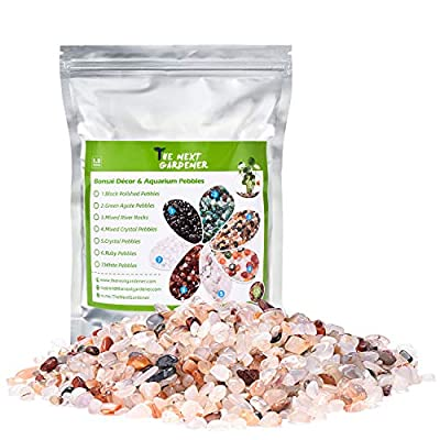 Decorative Ornamental Stones, Clear Cloudy Pebbles for Potted Plants Succulents Cactus Polished Bonsai Rocks for Aquarium Art Project Fountain Indoor Outdoor Decor Stones, 1.5Lb, 5mm - 8mm