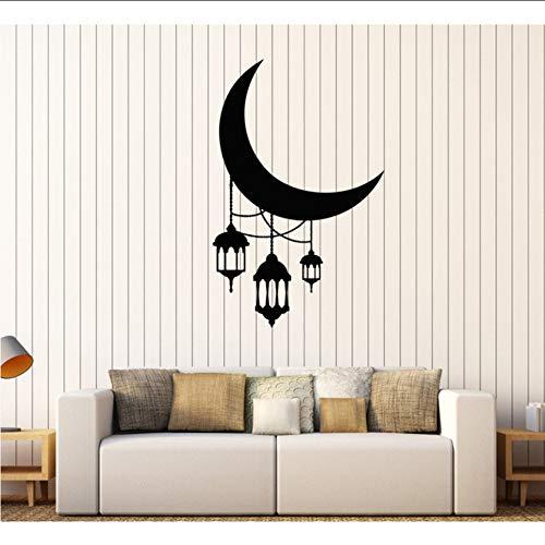Makeyong Crescent Maan Lantaarn Verlichting Arabische Stickers voor Kwekerij Verwijderbare Home Decoratie Vinyl Muurstickers Slaapkamer Hot Sale 57X89Cm