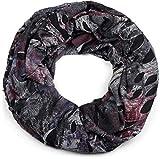styleBREAKER écharpe snood, effet splatter, avec des tâches et des signes dans un look vintage destroyed, unisexe 01016119, couleur:Anthracite-Vin Rouge-Violet