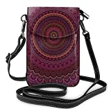 Bolso bandolera para mujer, diseño de mandala, color morado oscuro, pequeño, cartera de piel ligera, para mujeres y niñas