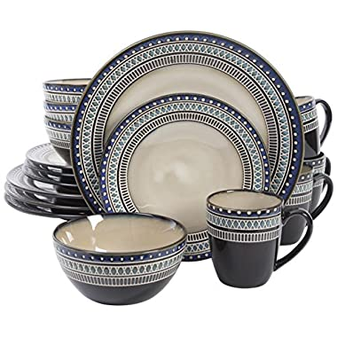 Gibson Magello 16 Piece Dinnerware Set, Cream/Brown/Blue