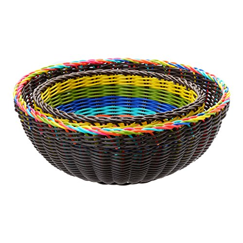 French Bull 2 Piece Serving Bowl Set - Bread, Basket, Party, Woven, Plastic Wicker - Multicolor