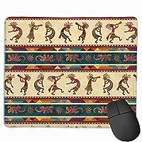 マウスパッドヴィンテージエスニックパターン長方形滑り止めパーソナライズされたデザインゲーミングラバーマウスパッドステッチエッジマウスマット9.8x11.8インチ