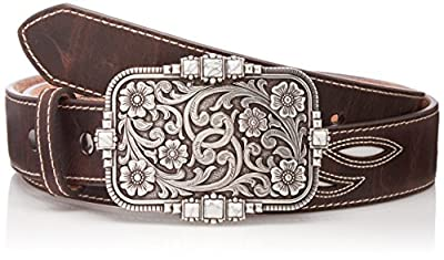Ariat Women's Inlay White Stone Buckle Belt, brown, Large