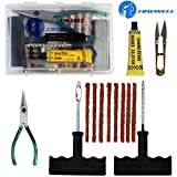 TIREWELL TW-5003 6-in-1 Portable Tubeless Tire Puncture Kit with Storage Box, Emergency Flat Tire...