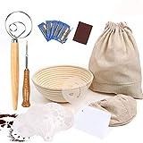 UNIQUEEN - Cestino per fermentazione del pane rotondo in rattan per pane, fermentazione, cestino, coltello da panetteria, kit da forno (A#)