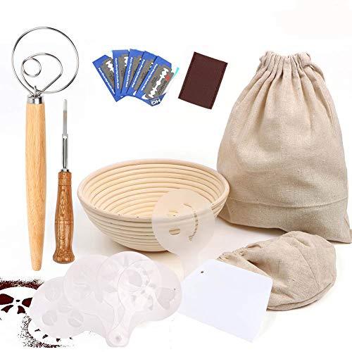 Fermentación pan Cesta 22 cm, redonda banneton para Pan Incluye raspador de tazón cortador ,16 PCS plantillas decoración de pan, varilla de agitador de harina, raspador, bolsa de pan de lino