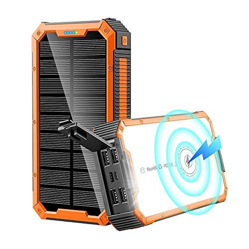 Siqi Power Bank 36800Mah-5V / 3A Carga rápida Wireless Power Banks Cargador portátil Solar [4 Salidas y 3 entradas] con linternas LED Paquete de batería Externa-Black Orange