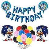 Sonic The Hedgehog Party Supplies, Sonic Foil Globos Juego de Decoración Sonic Erizo Frustrar Globo Bandera Set para Fiestas de Cumpleaños para Niños Fiesta Decoraciones de cumpleaños