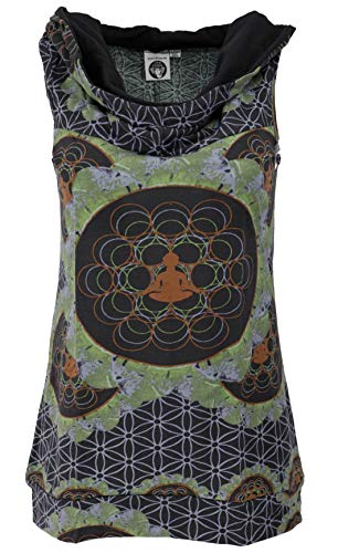 Guru-Shop Kapuzen Mandala Tank Top, Goa Festivaltop, Damen, Baumwolle, Tops & T-Shirts Alternative Bekleidung