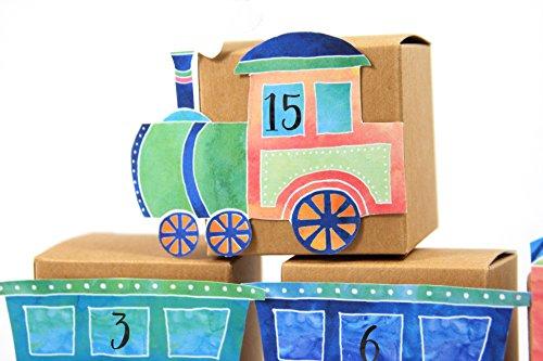 Adventskalender Schachteln Eisenbahn Lock Waggons für Kinder zum befüllen basteln