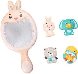 Sotodik Baby Bath Toys Set with 4PCS Soft Cute Ocean Animals Bath Squirter and 1PCS Fishing Net Water Toys Bathtub Bathroo...