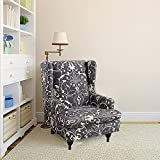 Stretch Wingback Chair Slipcover 2-Piece Spandex High Back Chair Cover American Style Armchair Cover Washable Easy to Install Furniture Protector with Elastic Bottom for Living Room Bedroom