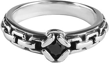 Rock & Ride 925 Anillos de Dedo de Plata Anillo de Cadena de obsidiana Gratis Negro