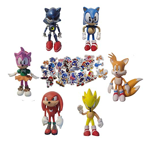 Pequeña figura de Sonic Juego de 6 piezas de Sonic hedgehog 1.5 pulgadas de alto, mini juguete para niños decoración de cupcakes decoración de regalo para fiestas