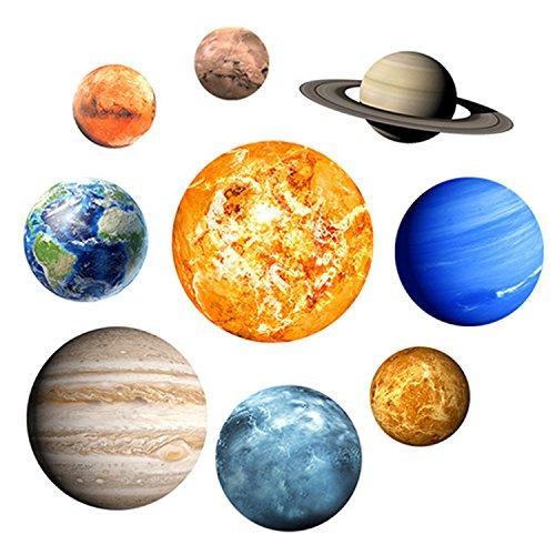 Autocollant Mural Lumineux, 9 Planets Système Solaire Fluorescent Wall Stickers Bricolage Décoration, pour les Enfants Chambre à Coucher Salle de Séjour Pépinière Bébé