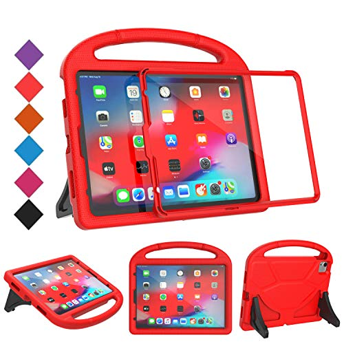 BMOUO Kids Case for iPad Air 4 2020, iPad Air 4 Case with Screen Protector,Shockproof Light Weight Handle Stand Case for iPad Air 4th Generation 10.9 inch/iPad Pro 11 2020/iPad Pro 11 2018 - Red