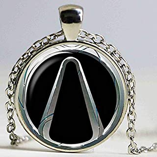 Inveroo Wholesale Glass Borderlands Vault Symbol Necklace Silver Plated Glass Cabochon Borderland Jewelry Art Picture Pendant Gamer Gift