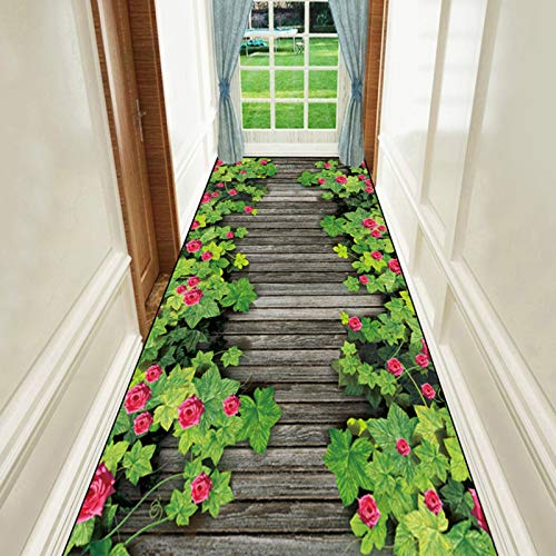 Flur Teppich Läufer Draussen Innen Flur Nachttisch Teppichmatte, 3D Grünes Gras und Blumen Muster Teppiche Fußmatte rutschfeste Dünne Pads, 60/80/100/120 cm Breit (Size : 120×400cm)