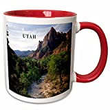 3dRose 80657_5'Utahs Zion National Park Ceramic Mug, 11 oz, Red/White
