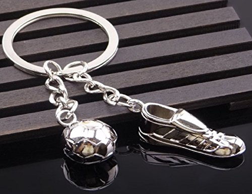 Sportigo ® Fußball Schlüsselanhänger Fußballschuh mit Ball/Fußballer Geschenk/Fan Geschenk
