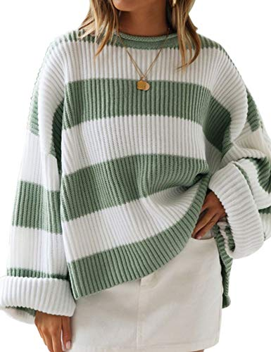 ZESICA Women's Long Sleeve Crew Neck Striped Color Block Comfy Loose Oversized Knitted Pullover Sweater,Green,Medium