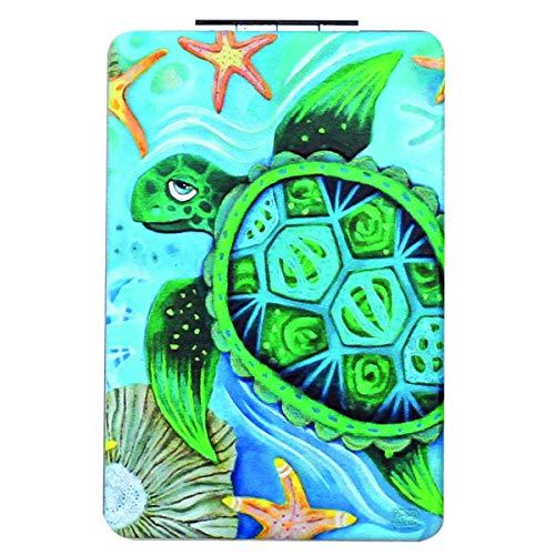 Allen Designs [Q1977] - Miroir de poche 'Allen Designs' bleu vert (Tortue) - 8.5x5.5 cm