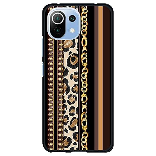 Funda Negra para [ Xiaomi Mi 11 Lite 4G/5G ], Carcasa de Silicona Flexible TPU, diseño : Estampado Dorado de Pulsera y Leopardo